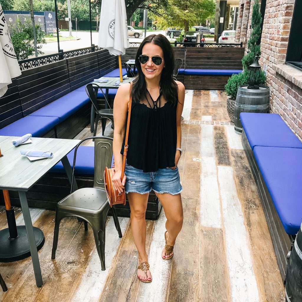 summer outfit | black crop top | distressed jean shorts | Casual Fashion Blog Lady in Violet