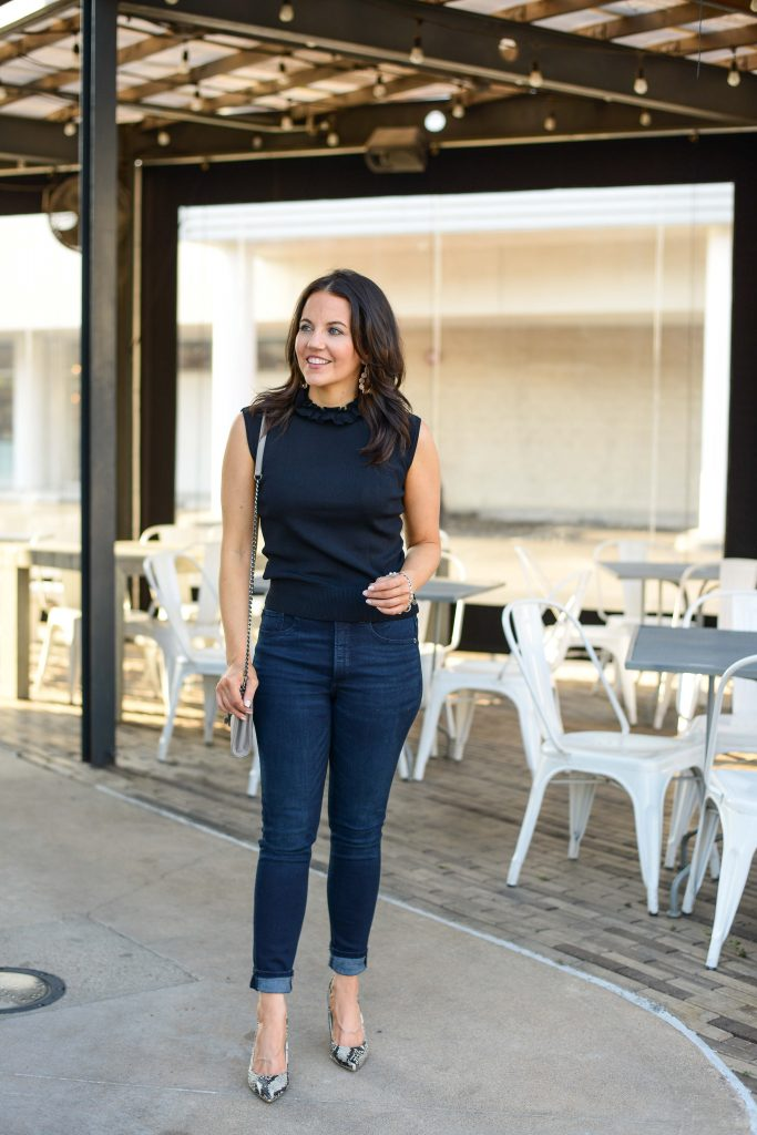 casual fall outfit with heels | black sleeveless turtleneck blouse | Affordable Fashion Blog Lady in Violet