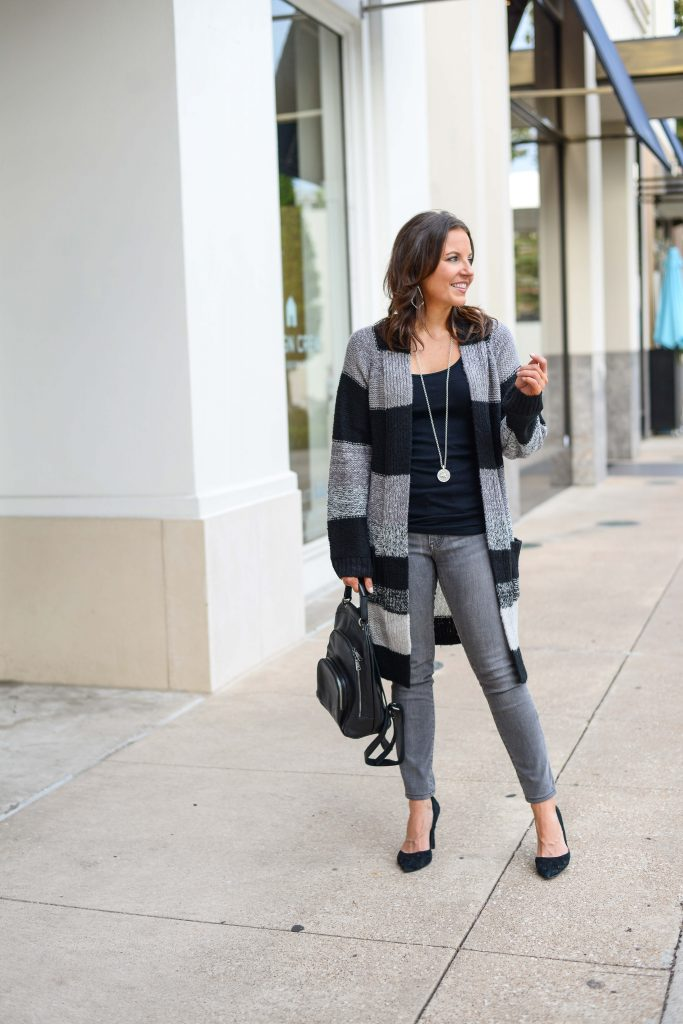 cold weather outfits | gray striped long cardigan | grey skinny jeans | Everyday Fashion Blogger Lady in Violet