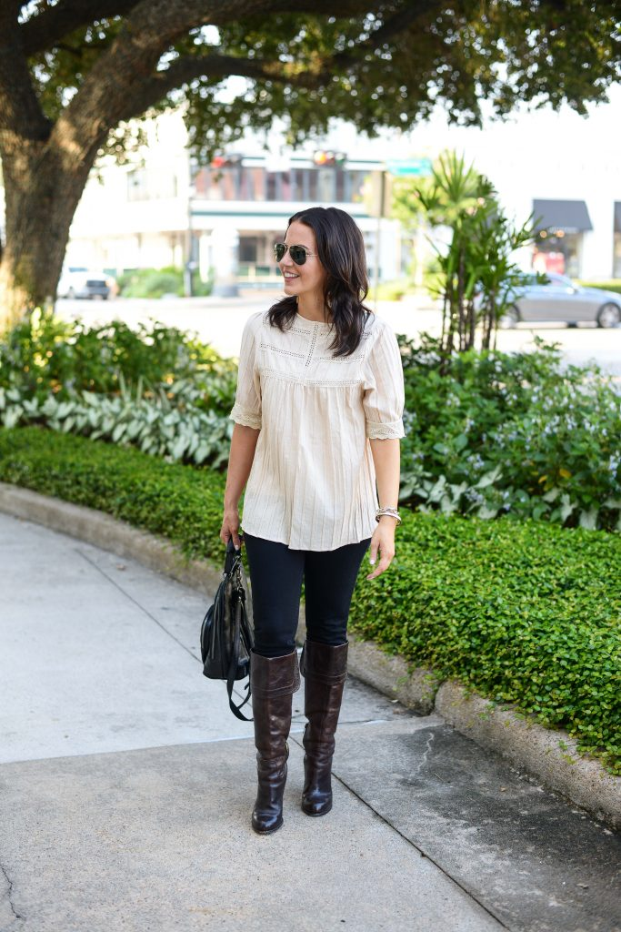 fall outfit | ivory lace blouse | black jeans | Popular Fashion Blog Lady in Violet