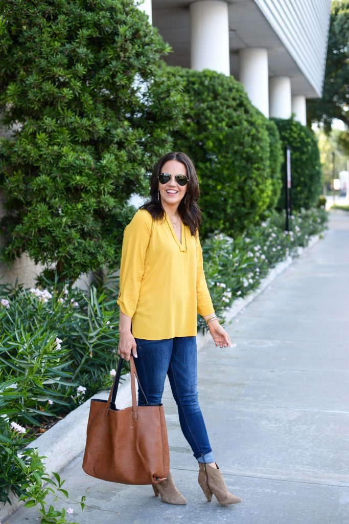 fall outfit | yellow long sleeve top | brown tote bag | Houston Fashion Blogger Lady in Violet