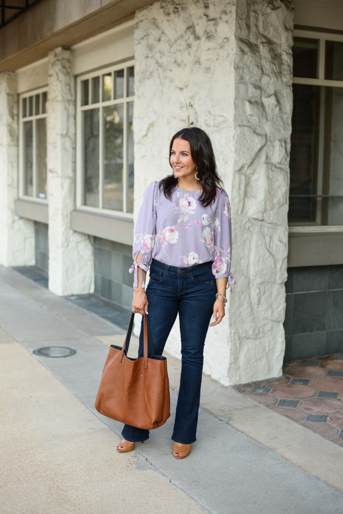 fall outfits | pastel floral top | dark wash flare jeans | Everyday Fashion Blog
