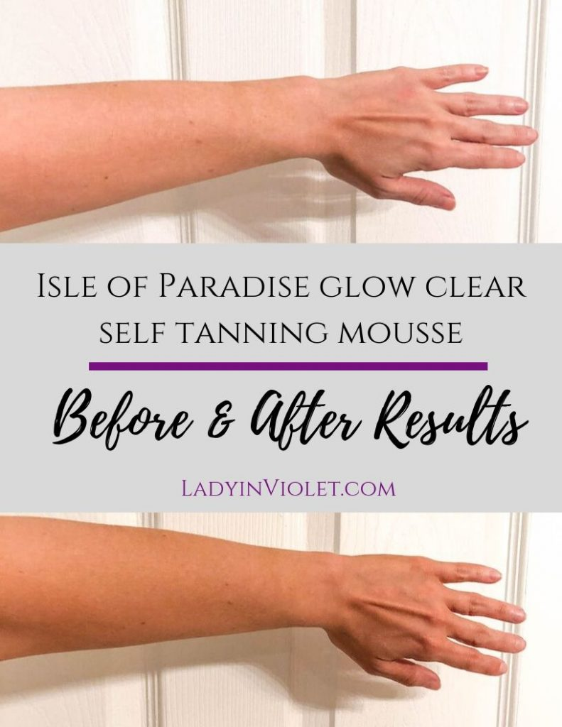isle of paradise glow clear green self tanning mousse before and after results | Beauty Blogger Lady in Violet