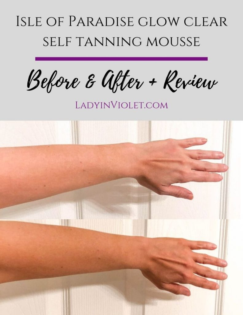 isle of paradise glow clear self tanner mousse before and after results | Beauty Blogger Lady in Violet