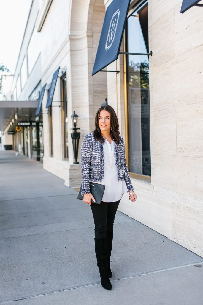 fall outfit   navy blue cropped jacket   black suede boots   Affordable Fashion Blog Lady in Violet