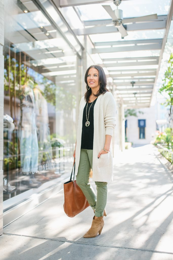fall outfit | beige cardigan | olive pants | Affordable Fashion Blog Lady in Violet