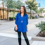 Blue Tunic Top + Faux Leather Leggings