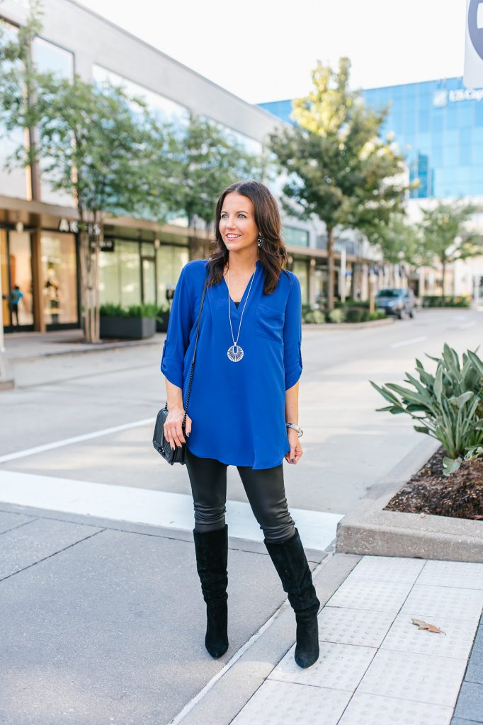 fall outfit | blue henley tunic top | black faux leather leggings | Affordable Fashion Blog Lady in Violet
