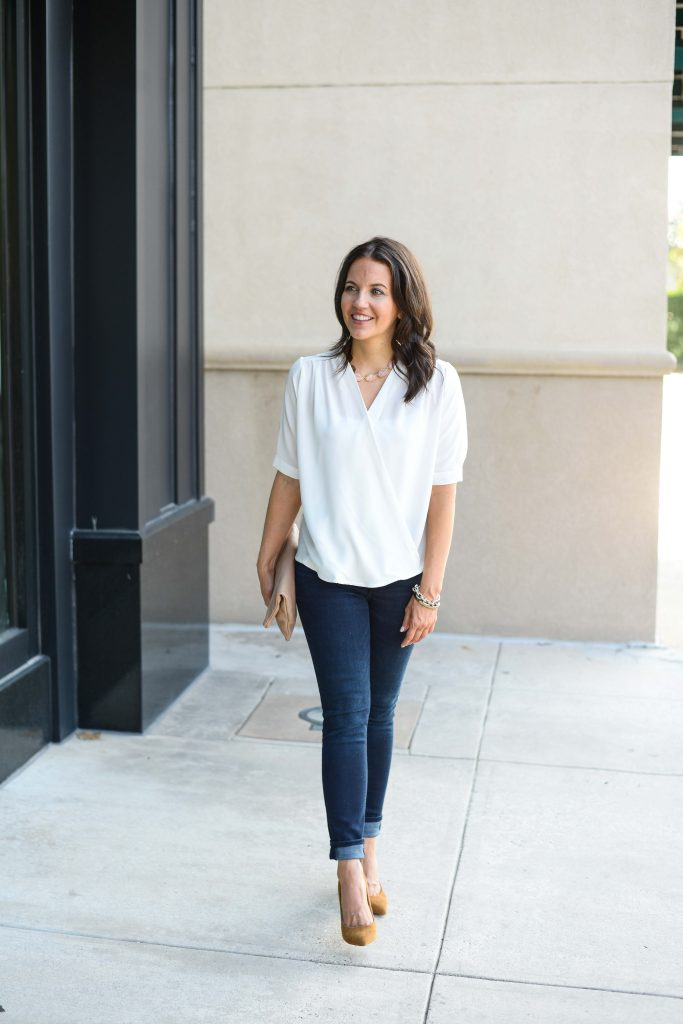 fall outfit | white wrap blouse | dark wash jeans | Affordable Fashion Blog Lady in Violet