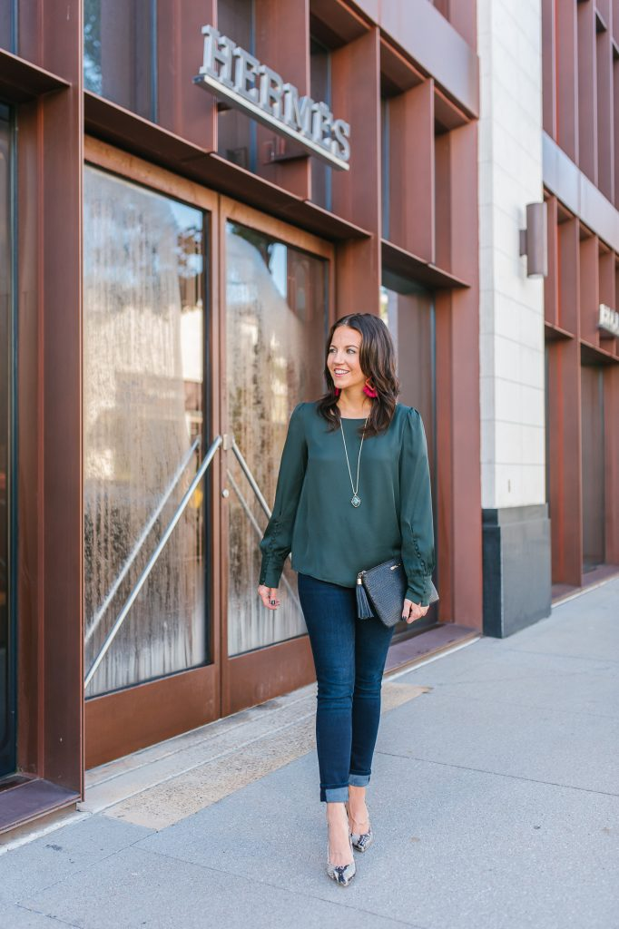 thanksgiving outfit idea | dark green blouse | snakeskin heels | Affordable Fashion Blog Lady in Violet