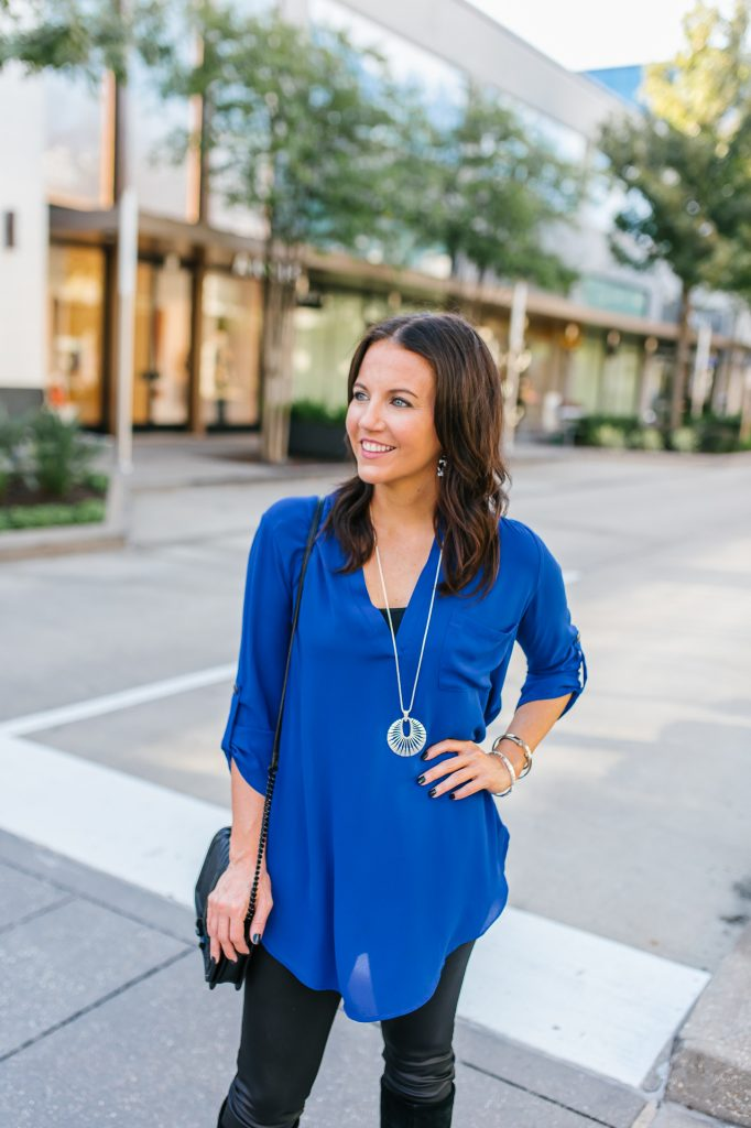 casual outfit | blue tunic blouse | silver pendant necklace | Houston Fashion Blogger Karen Kocich