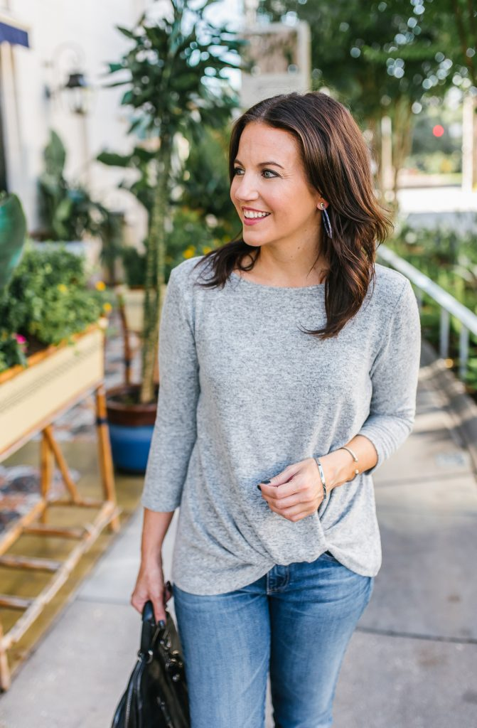 casual outfit | lightweight gray tee | blue hoop earrings | Houston Fashion Blog Lady in Violet