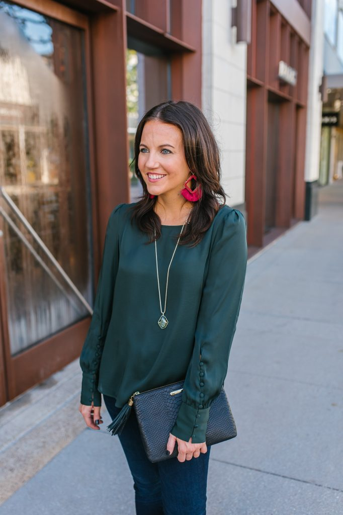 holiday outfit | green button sleeve blouse | red statement earrings | Houston Fashion Blogger Lady in Violet