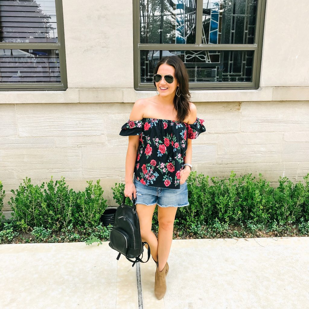 summer outfit | dark floral off the shoulder top | brown booties | Houston Fashion Blogger Lady in Violet