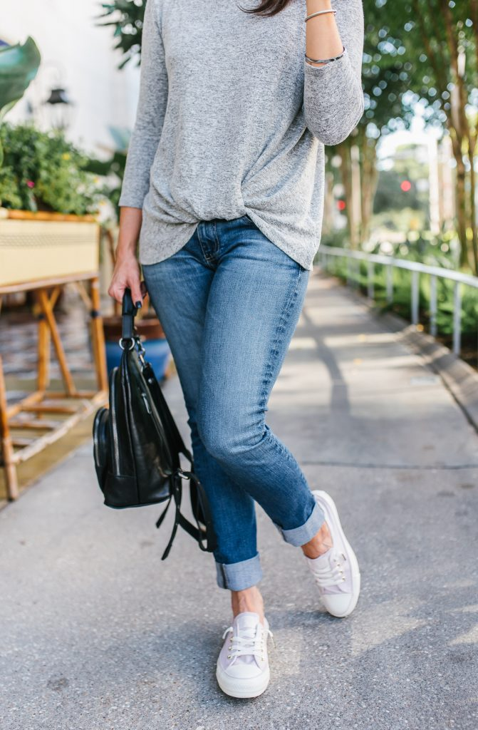 casual fall outfit | blue cuffed jeans | pink converse sneakers | Petite Fashion Blog Lady in Violet