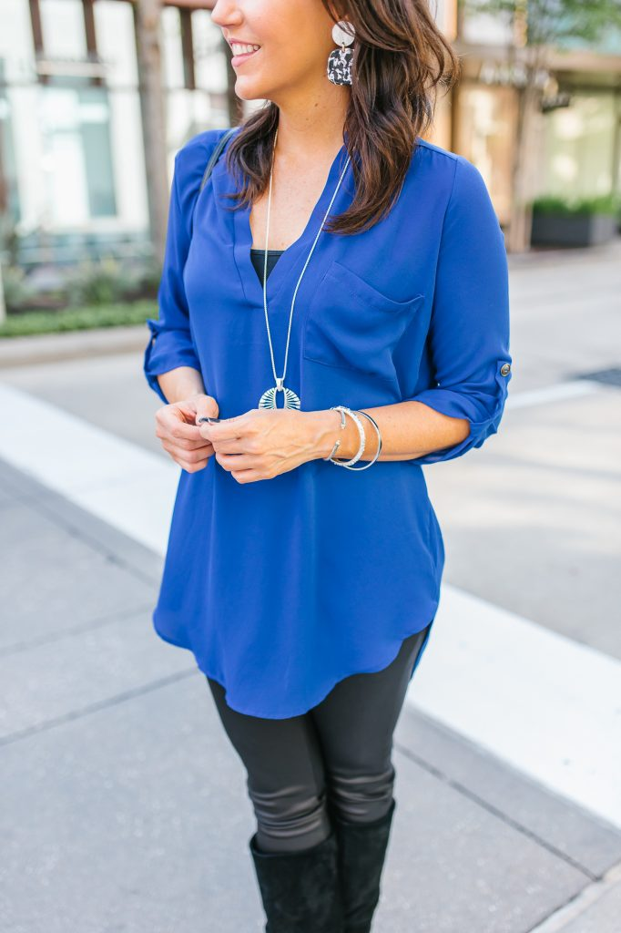 casual fall outfit | long blue blouse | black leather leggings | Everyday Fashion Blog Lady in Violet