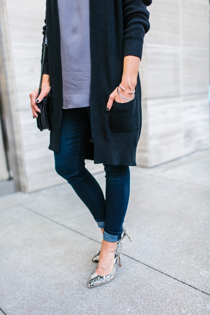 casual outfit | dark wash skinny jeans | snakeskin heels | Budget Friendly Fashion Blog Lady in Violet
