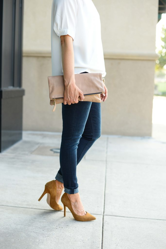 dressy casual outfit | tan brown suede heels | cuffed skinny jeans | Petite Fashion Blog Lady in Violet