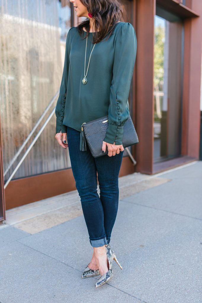 fall outfit | dark green long sleeve blouse | dark wash skinny jeans | Petite Fashion Blog Lady in Violet