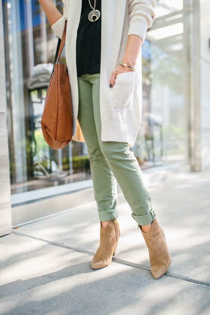 how to wear olive pants in fall | brown booties | Petite Fashion Blog Lady in Violet