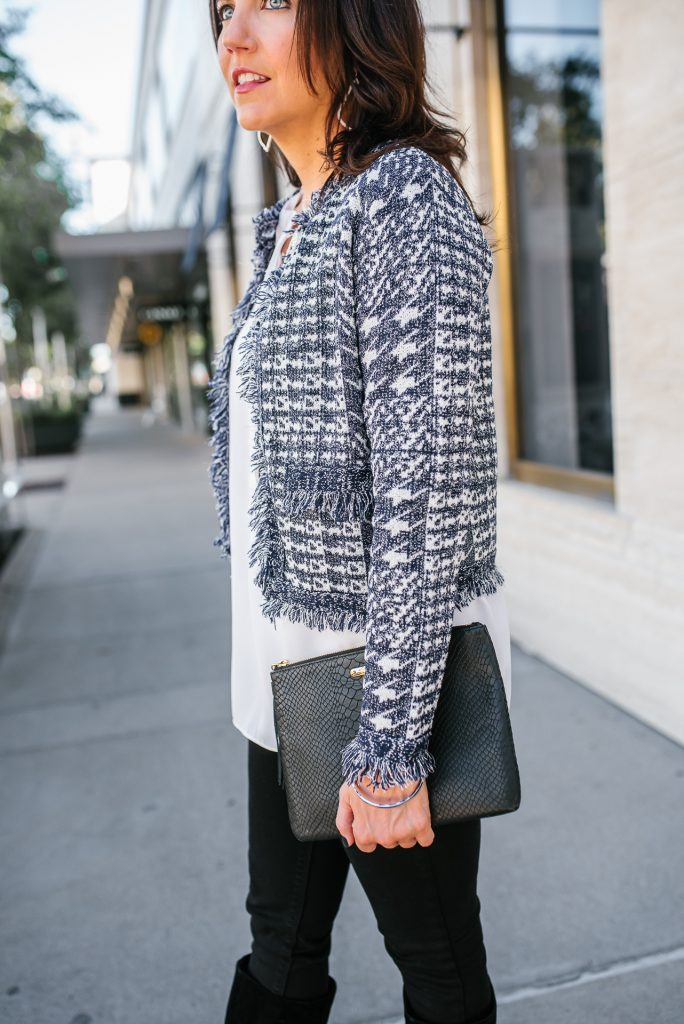 winter outfit   navy tweed jacket   black clutch purse   Chic Fashion Blog Lady in Violet