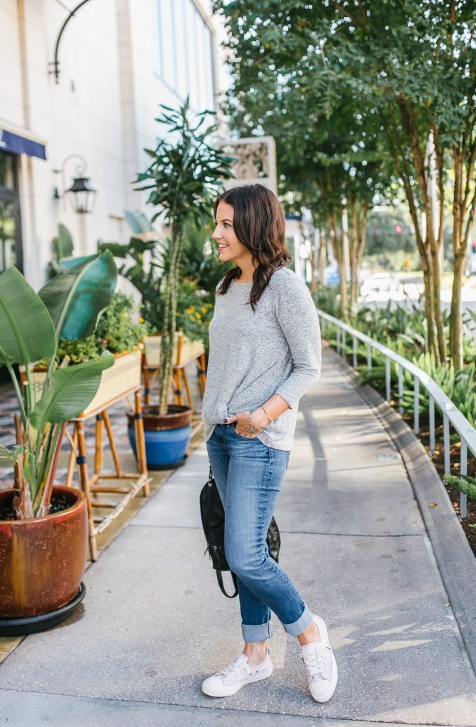 casual everyday outfit | light gray tee | blue skinny jeans | Budget Friendly Fashion Blog Lady in Violet