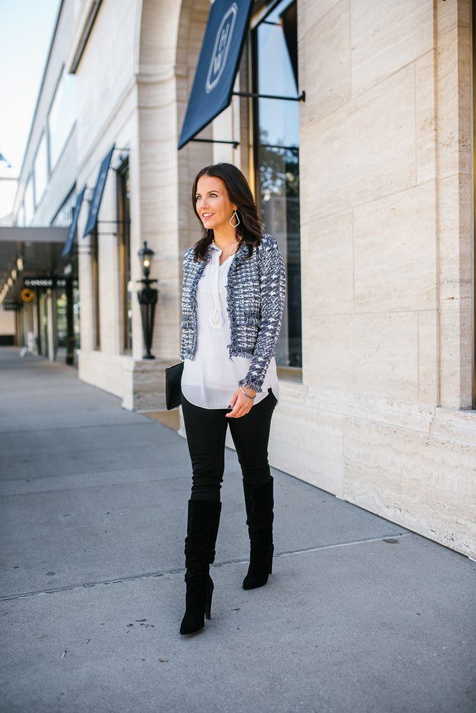 date night outfit | blue open front jacket | black skinny jeans | Texas Fashion Blog Lady in Violet