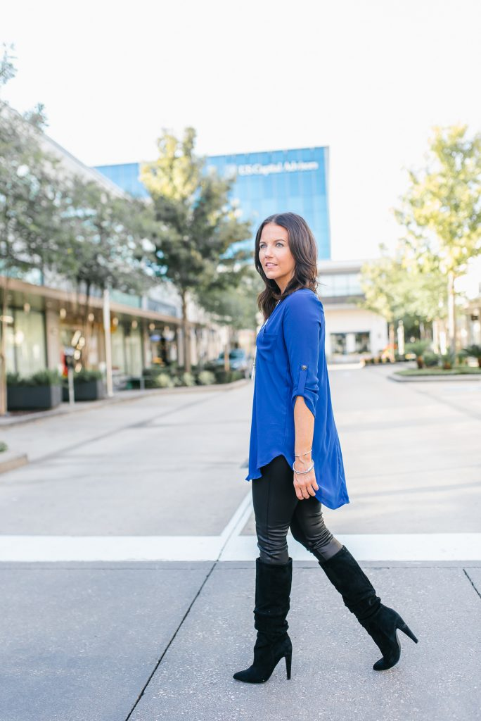 date night outfit | long blue top | black faux leather leggings | Petite Fashion Blog Lady in Violet