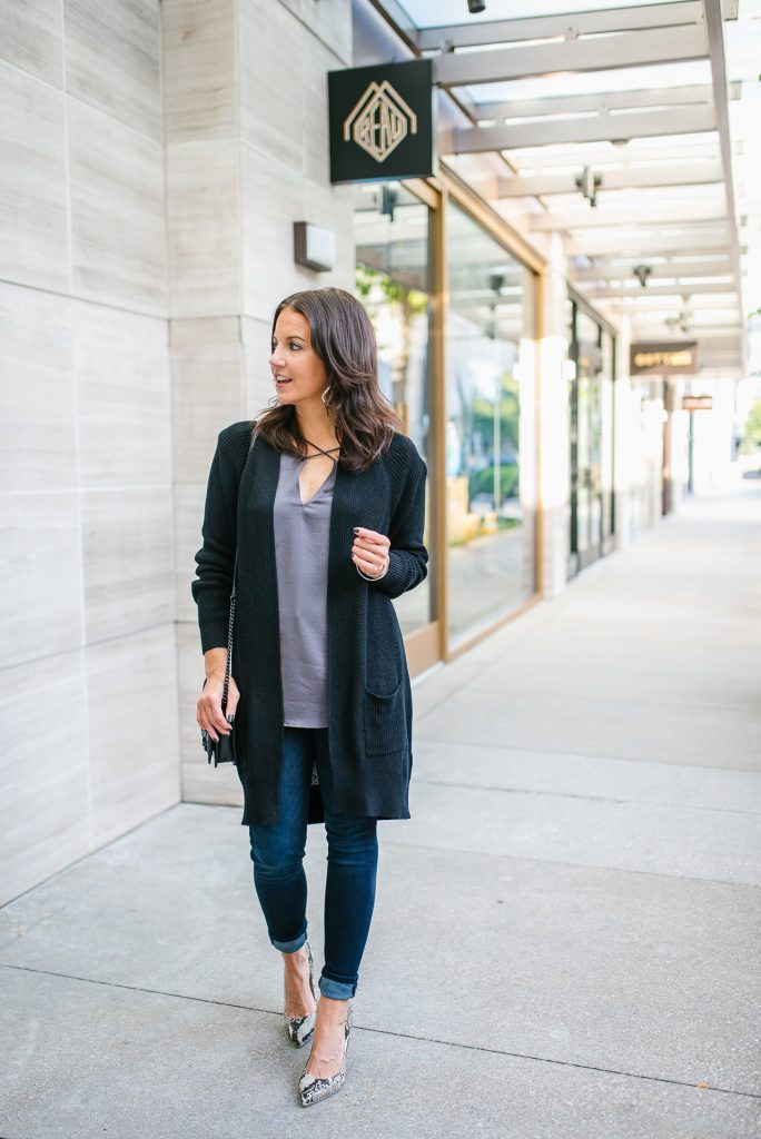 tips for dressing up a cardigan for fall | Petite Fashion Blog Lady in Violet