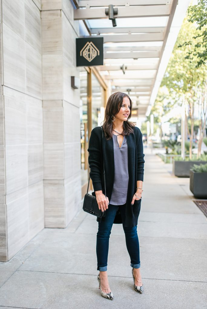 casual fall outfit | black cardigan layered over satin gray top | Southern Fashion Blog Lady in Violet