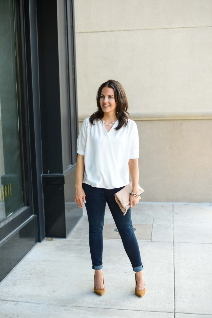 casual fall outfit | white wrap blouse | dark wash skinny jeans | Budget Friendly Fashion Blog Lady in Violet