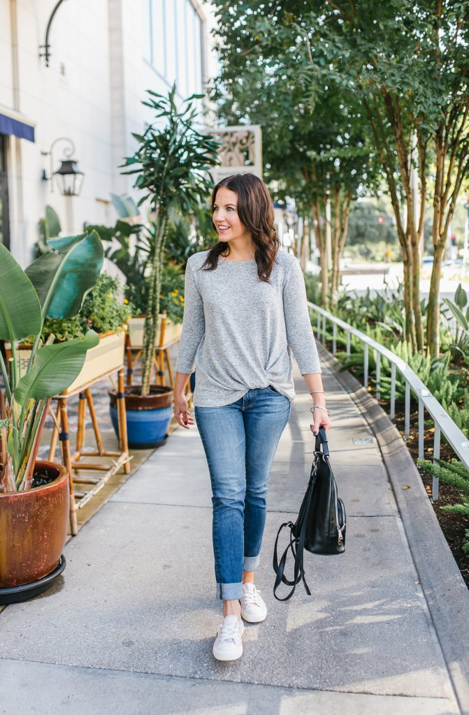 casual comfy travel outfit | gray twist waist top | pink slip on sneakers | Everyday Fashion Blog Lady in Violet