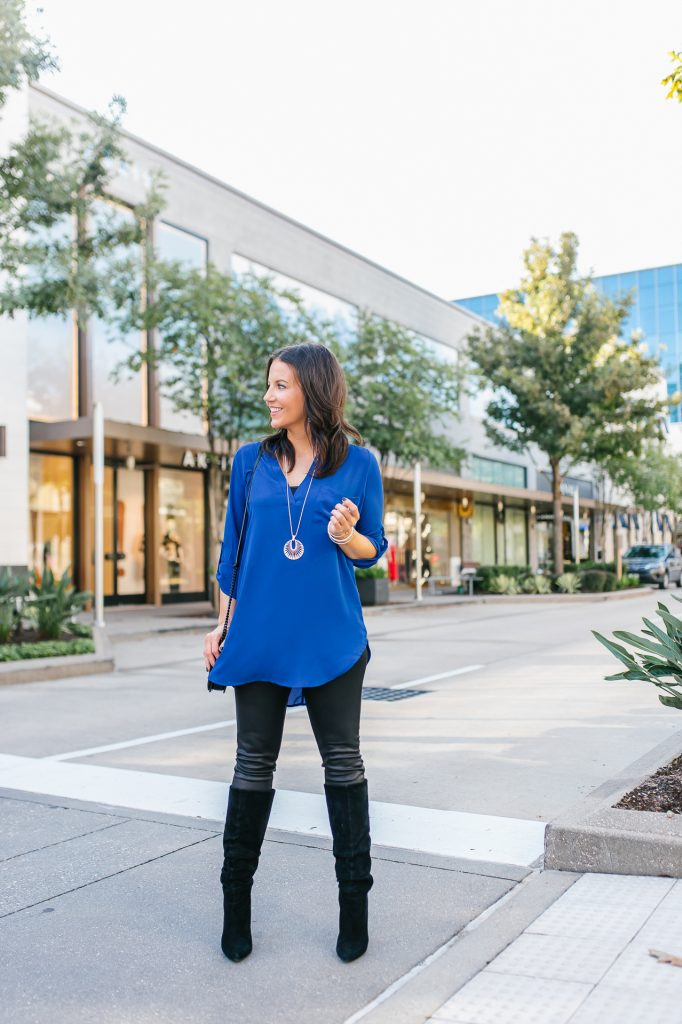 Fall outfit | blue tunic top | suede boots | Causal Fashion Blog Lady in Violet