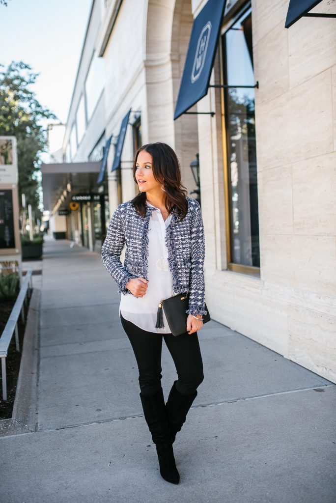 fall outfit | dark blue tweed crop jacket | black slouchy boots | Petite Fashion Blog Lady in Violet