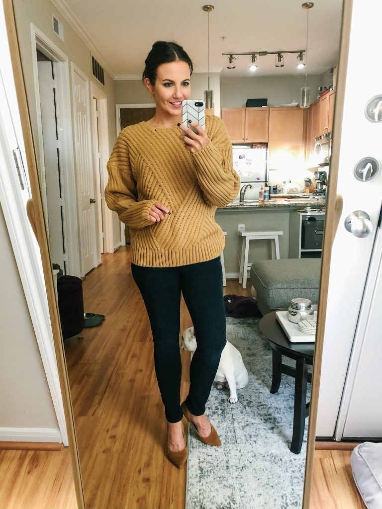 fall outfit | tan brown sweater | suede heels | Southern Fashion Blog Lady in Violet
