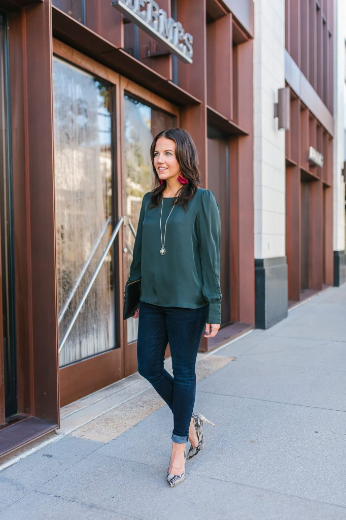 holiday outfit idea with heels | dark green button sleeve blouse | stone necklace | Texas Fashion Blog Lady in Violet