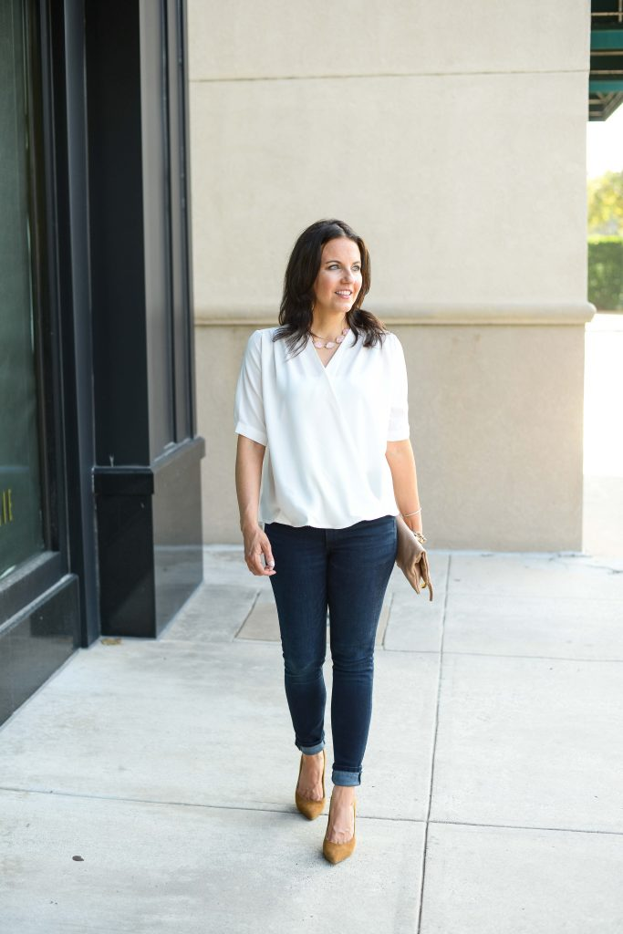 casual outfit | white short sleeve blouse | high waisted skinny jeans | Popular Fashion Blog Lady in Violet