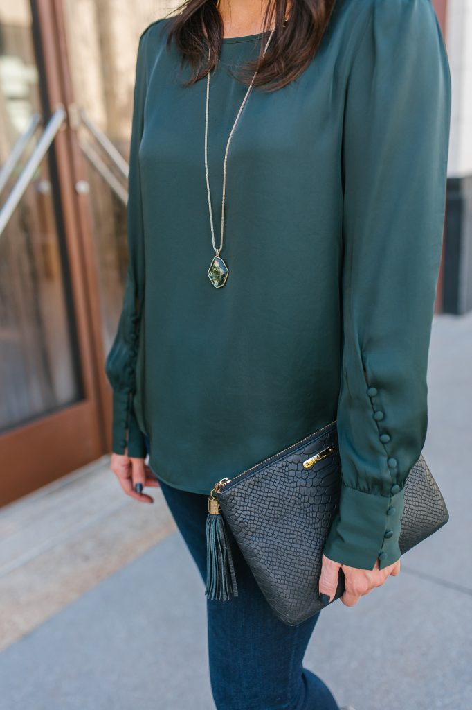 fall outfit | hunter green top | gold stone necklace | Casual Fashion Blog Lady in Violet