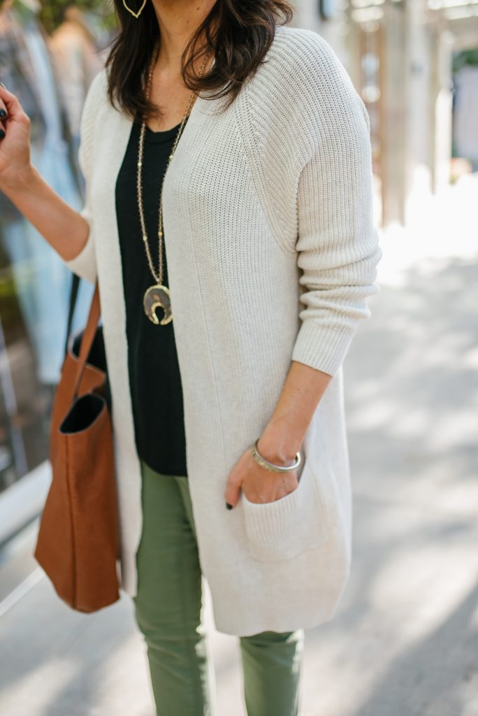 Layered outfit for fall | ivory long cardigan | black tshirt | Texas Fashion Blog Lady in Violet