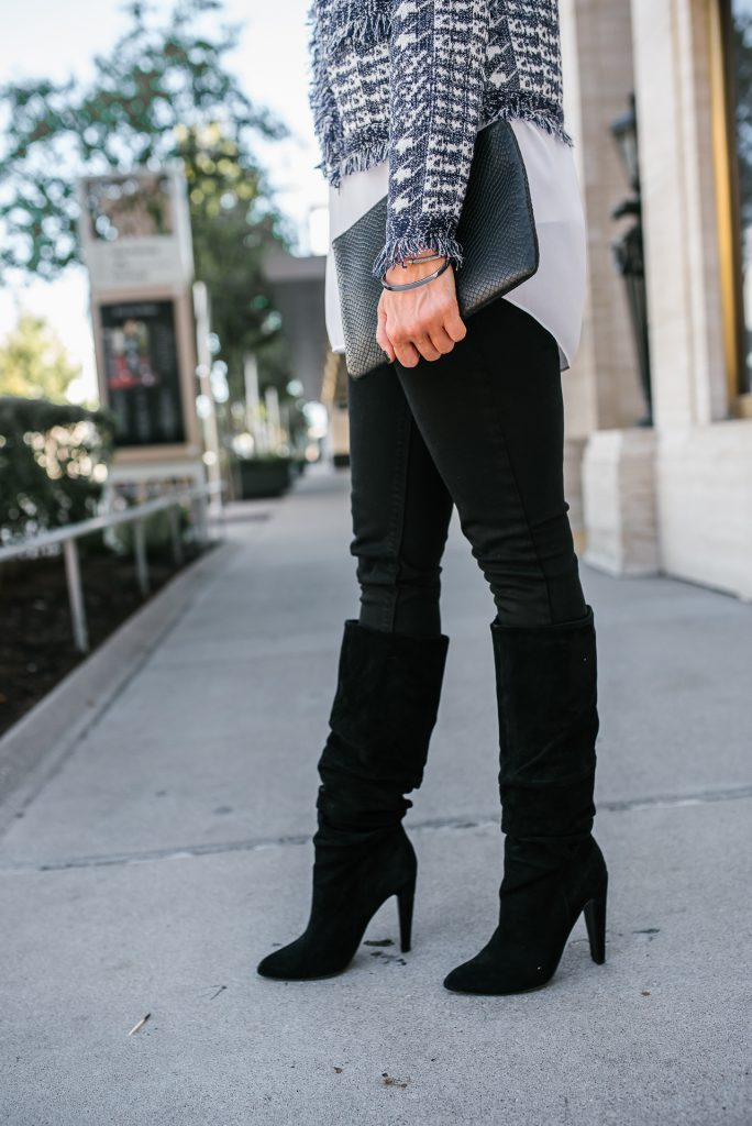 winter outfit | black skinny jeans | suede slouch boots | Budget Friendly Fashion Blog Lady in Violet