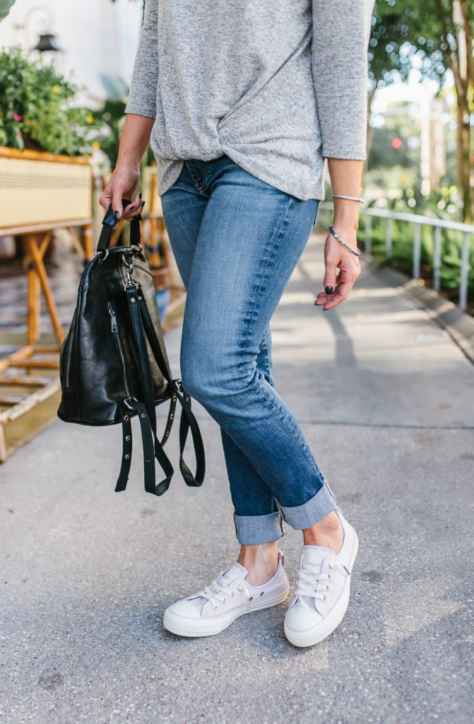 cute errand running outfit | cuffed blue denim | pink converse shoes | Casual Fashion Blog Lady in Violet