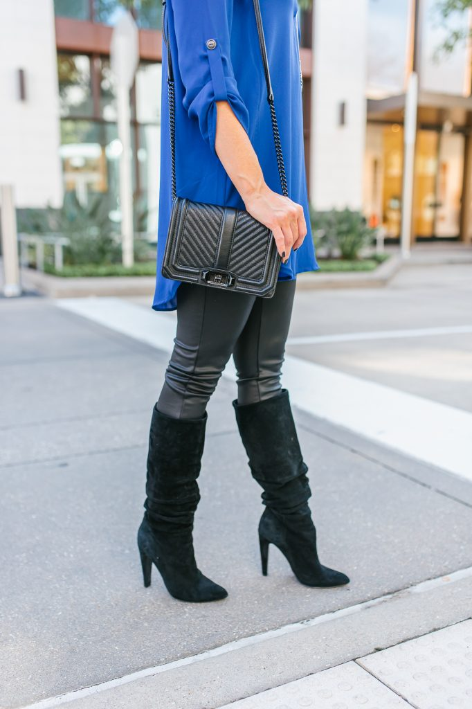 fall outfit | black leather leggings | slouchy suede boots | Southern Fashion Blog Lady in Violet