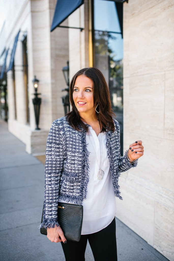 fall outfit   blue crop tweed jacket   silver long pendant necklace   Southern Style Blog Lady in Violet