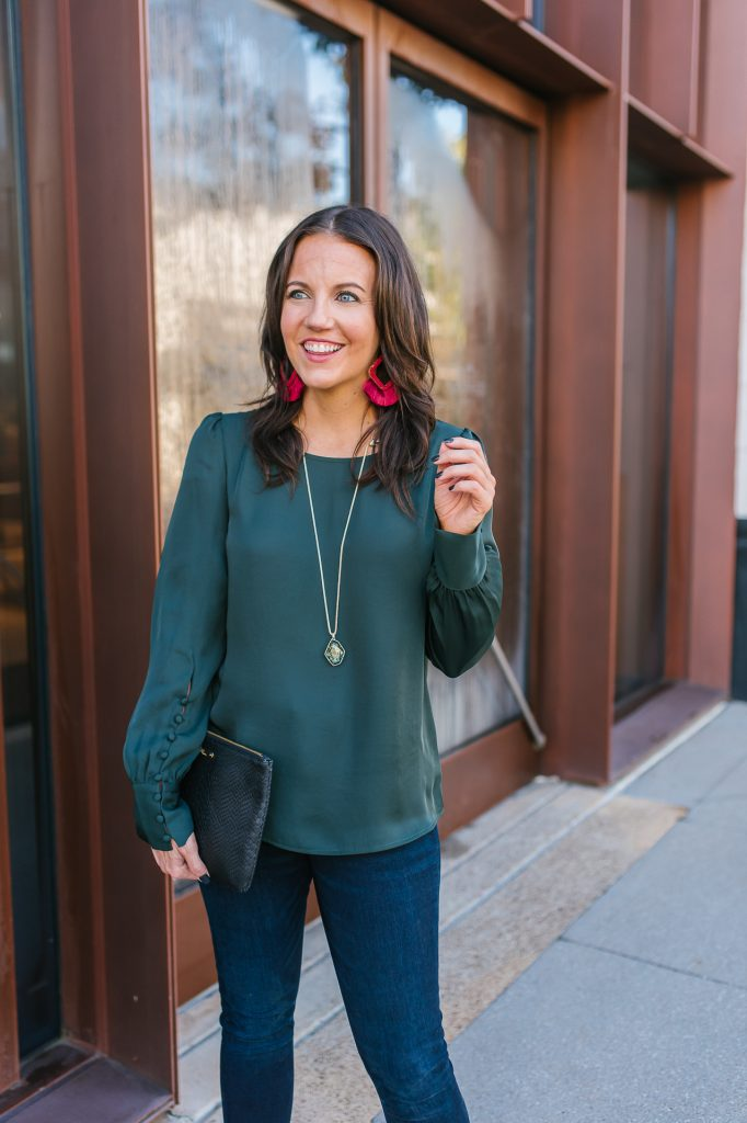 fall outfit | forest green long sleeve top | red tassel statement earrings | Popular Fashion Blog Lady in Violet