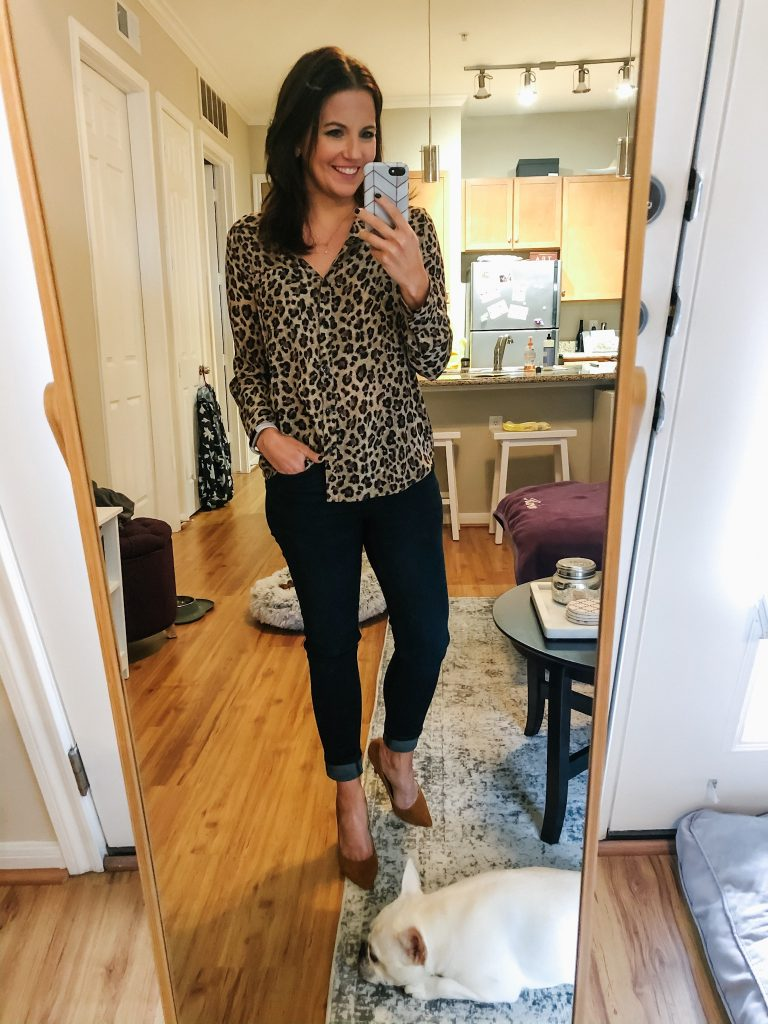 fall outfit | leopard print top | skinny jeans | Casual Fashion Blog Lady in Violet
