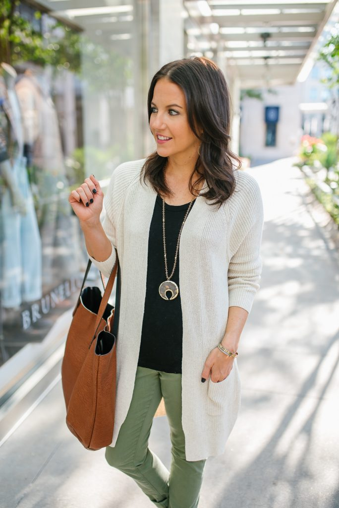 fall outfit | light beige cardigan | brown tote bag | Southern Fashion Blog Lady in Violet