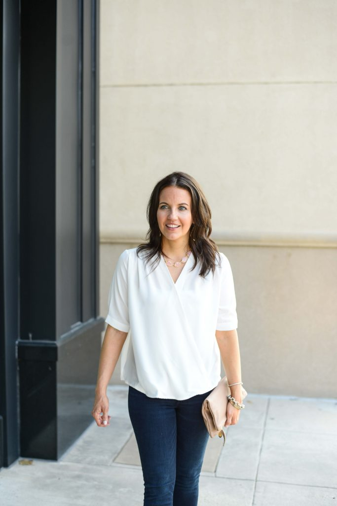 fall outfit | white wrap silk blouse | light pink statement necklace | Texas Fashion Blog Lady in Violet