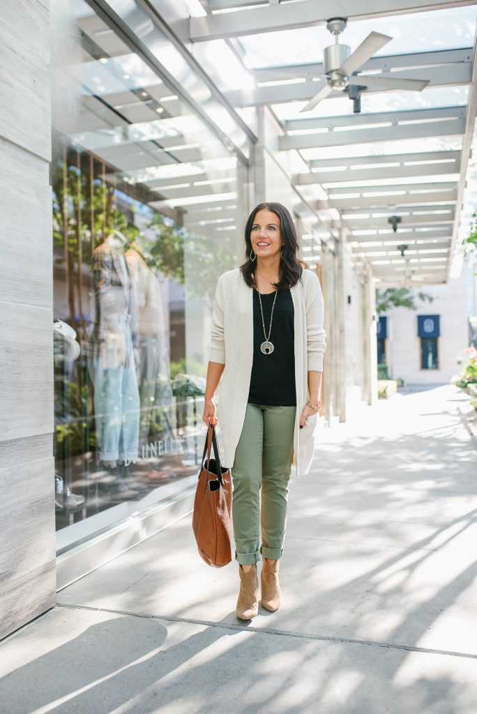 casual outfit | olive green pants | ivory long cardigan | Affordable Fashion Blog Lady in Violet