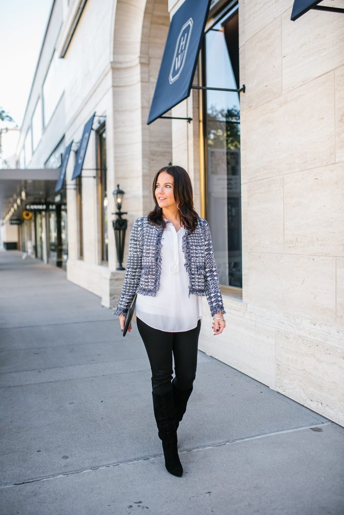 holiday outfit   navy cropped jacket   black boots   Everyday Fashion Blog Lady in Violet