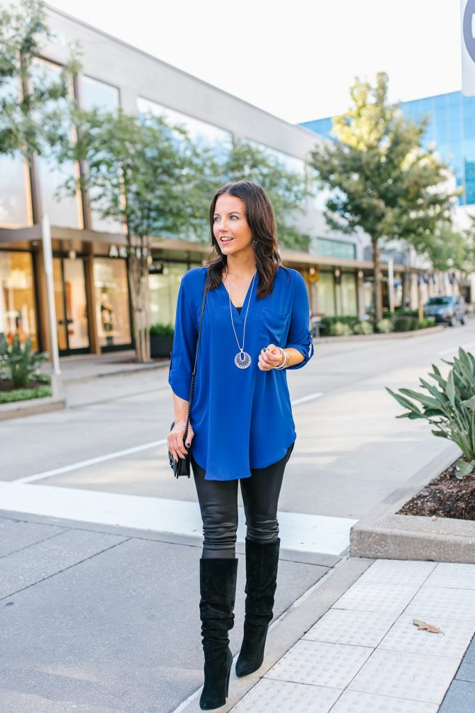 semi casual fall outfit | blue tunic top | faux leather leggings | Popular Fashion Blog Lady in Violet